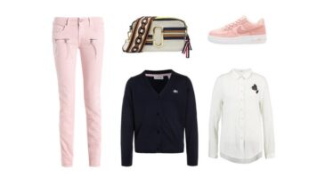 EDULLISTA shoppailua – Vaaleanroosa + tummansininen (Look #1)
